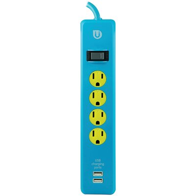 Power Strip 4-Outlet with 2 USB Ports Color: Blue/Yellow