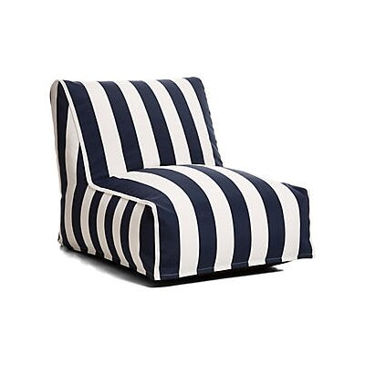 Outdoor Bean Bag Lounger Upholstery: Navy/ White