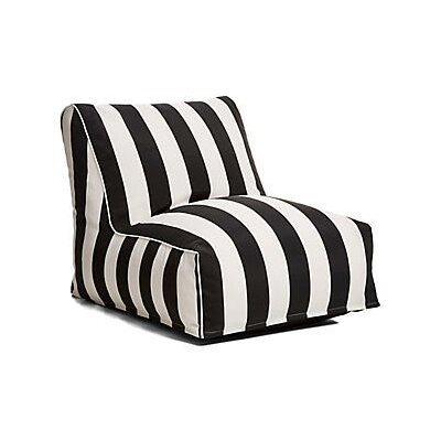 Outdoor Bean Bag Lounger Upholstery: Black/White