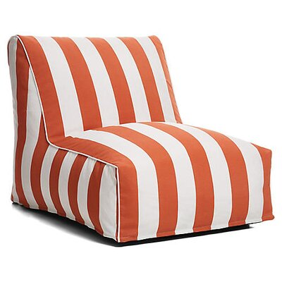 Outdoor Bean Bag Lounger Upholstery: Tangerine/White