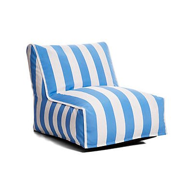 Outdoor Bean Bag Lounger Upholstery: Blue/White