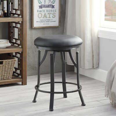 Chused 24 Swivel Bar Stool Color: Black/Dark Pewter