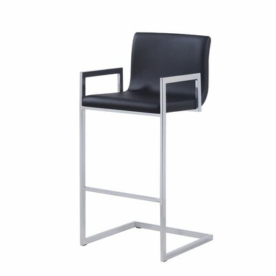 Pinella 30 Bar Stool Upholstery Color: Black