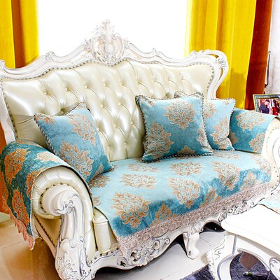 European Jacquard Sofa Slipcover Upholstery: Blue, Size: 55 W x 34 D