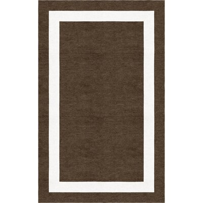 Moradian Border Hand-Tufted Wool Brown/White Area Rug Rug Size: Rectangle 5 x 8
