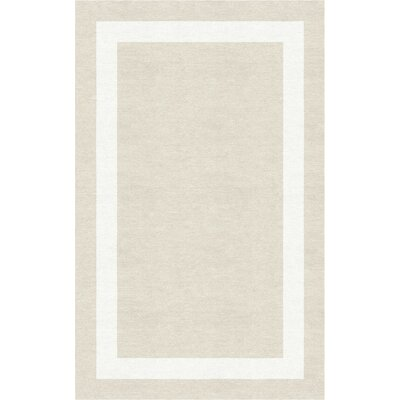 Kahana Border Hand-Tufted Wool Silver/White Area Rug Rug Size: Rectangle 5 x 8