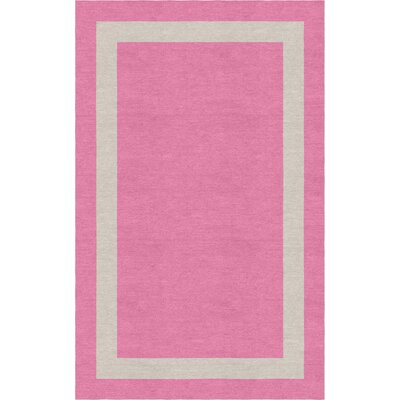 Meidell Border Hand-Tufted Wool Pink/Silver Area Rug Rug Size: Rectangle 9 x 12