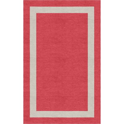Whitecavage Border Hand-Tufted Wool Red/Silver Area Rug Rug Size: Rectangle 6 x 9