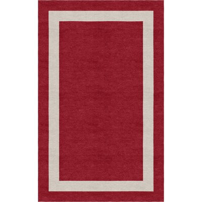 Covert Border Hand-Tufted Wool Wine Red/Silver Area Rug Rug Size: Rectangle 5 x 8