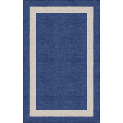 Cormier Border Hand-Tufted Wool Navy Blue/Silver Area Rug Rug Size: Rectangle 5 x 8