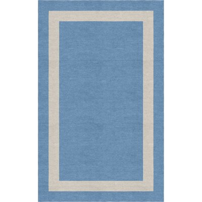Bhamidipati Border Hand-Tufted Wool Aqua/Silver Area Rug Rug Size: Rectangle 6 x 9