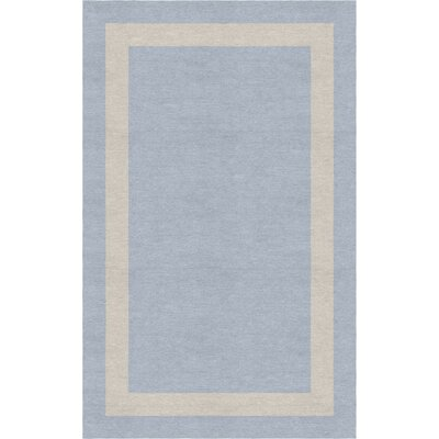 Barbati Border Hand-Tufted Wool Light Blue/Silver Area Rug Rug Size: Rectangle 9 x 12