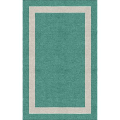 Misdalski Border Hand-Tufted Wool Teal/Silver Area Rug Rug Size: Rectangle 9 x 12