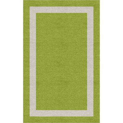 Jabber Border Hand-Tufted Wool Olive/Silver Area Rug Rug Size: Rectangle 5 x 8