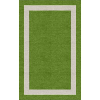 Lipkvich Border Hand-Tufted Wool Green/Silver Area Rug Rug Size: Rectangle 8 x 10