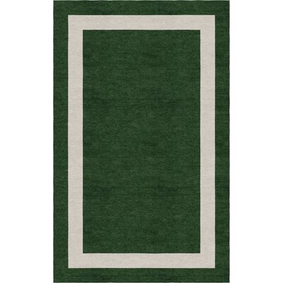 Andrijauskaite Border Hand-Tufted Wool Dark Green/Silver Area Rug Rug Size: Rectangle 9 x 12