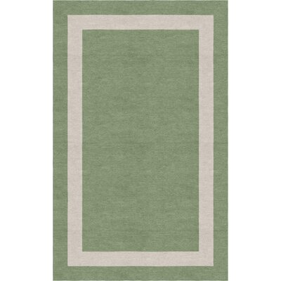 Klanke Border Hand-Tufted Wool Sage/Silver Area Rug Rug Size: Rectangle 9 x 12