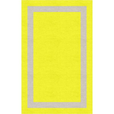 Labanara Border Hand-Tufted Wool Yellow/Silver Area Rug Rug Size: Rectangle 6 x 9
