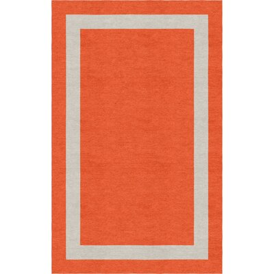 Mammen Border Hand-Tufted Wool Dark Orange/Silver Area Rug Rug Size: Rectangle 9 x 12