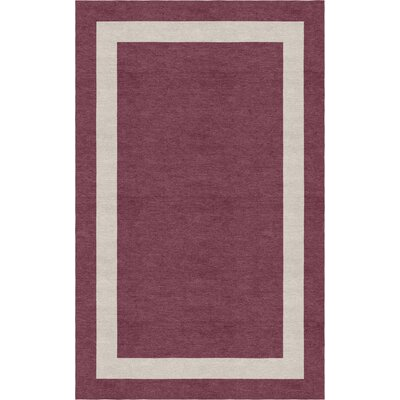 Post Border Hand-Tufted Wool Dark Purple/Silver Area Rug Rug Size: Rectangle 6 x 9
