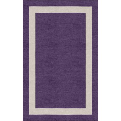 Yanagi Border Hand-Tufted Wool Dark Violet/Silver Area Rug Rug Size: Rectangle 5 x 8