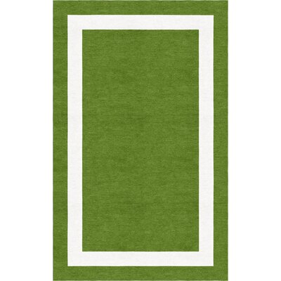 Acree Border Hand-Tufted Wool Green/White Area Rug Rug Size: Rectangle 6 x 9