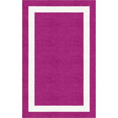 Fleisher Border Hand-Tufted Wool Magenta/White Area Rug Rug Size: Rectangle 8 x 10