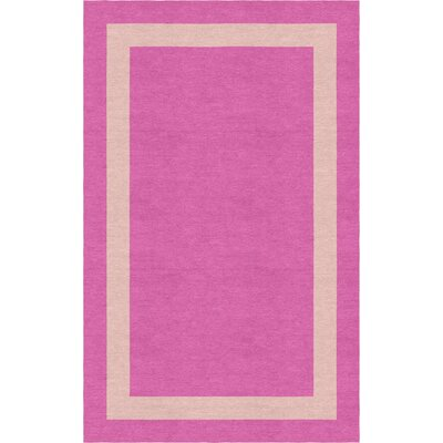 Sahay Border Hand-Tufted Wool Pink/Peach Area Rug Rug Size: Rectangle 6 x 9