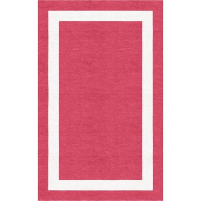 Wistrom Border Hand-Tufted Wool Red/White Area Rug Rug Size: Rectangle 9 x 12