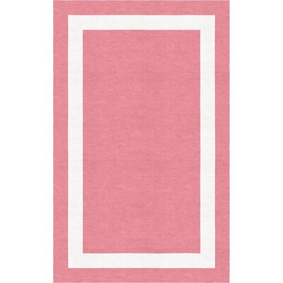 Weidel Border Hand-Tufted Wool Pink/White Area Rug Rug Size: Rectangle 5 x 8