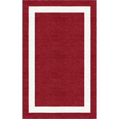 Volk Border Hand-Tufted Wool Wine Red/White Area Rug Rug Size: Rectangle 9 x 12