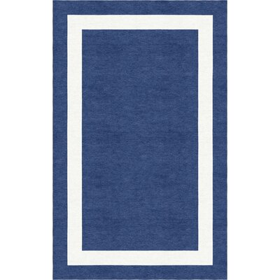 Harlem Border Hand-Tufted Wool Navy Blue/White Area Rug Rug Size: Rectangle 8 x 10