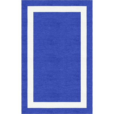 Borsch Border Hand-Tufted Wool Blue/White Area Rug Rug Size: Rectangle 9 x 12