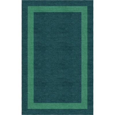 Enlow Border Hand-Tufted Wool Green/Teal Area Rug Rug Size: Rectangle 9 x 12