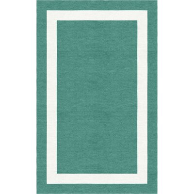 Crittenton Border Hand-Tufted Wool Teal/White Area Rug Rug Size: Rectangle 9 x 12