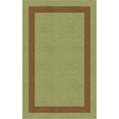 Rossignac-Milon Border Hand-Tufted Wool Olive/Brown Area Rug Rug Size: Rectangle 6 x 9