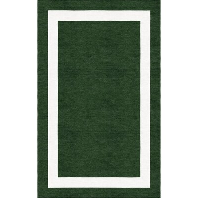 Bartolome Border Hand-Tufted Wool Dark Green/White Area Rug Rug Size: Rectangle 9 x 12