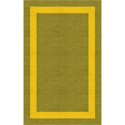 Wortley Border Hand-Tufted Wool Olive/Gold Area Rug Rug Size: Rectangle 9 x 12