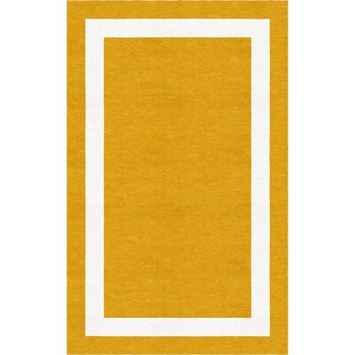 Anselmi Border Hand-Tufted Wool Dark Gold/White Area Rug Rug Size: Rectangle 6 x 9