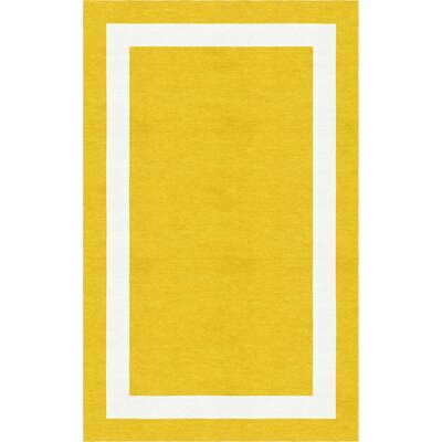 Begay Border Hand-Tufted Wool Gold/White Area Rug Rug Size: Rectangle 6 x 9