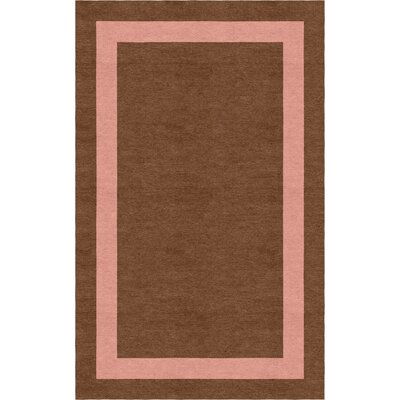 Ong Border Hand-Tufted Wool Brown/Peach Area Rug Rug Size: Rectangle 6 x 9