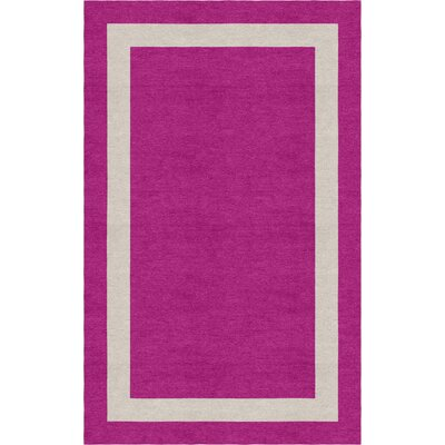Montenigro Border Hand-Tufted Wool Magenta/Silver Area Rug Rug Size: Rectangle 6 x 9