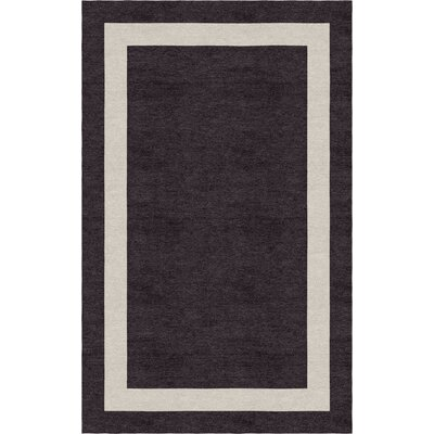 Dews Border Hand-Tufted Wool Silver/Charcoal Area Rug Rug Size: Rectangle 5 x 8