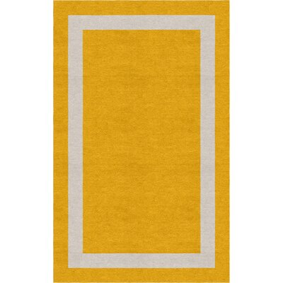 Fachon Border Hand-Tufted Wool Dark Gold/Silver Area Rug Rug Size: Rectangle 6 x 9