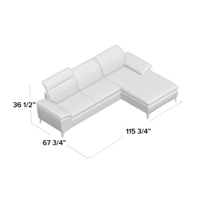 Cleona Sectional Upholstery: White, Orientation: Left Hand Facing