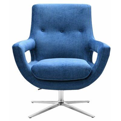 Earleville Velvet Swivel Armchair Upholstery: Navy