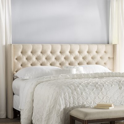 Crawley Upholstered Wingback Headboard Size: King, Upholstery: Beige