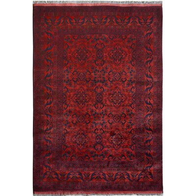 One-of-a-Kind Mcroy Hand-Knotted Wool Red/Black Area Rug