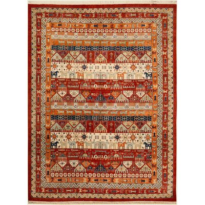 Mcshan Hand-Knotted Wool Red/Rust Area Rug