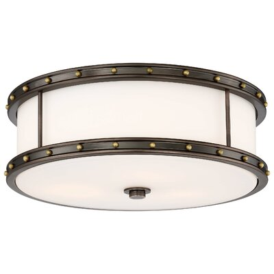 Margaux 3-Light Flush Mount Finish: Harvard Court Bronze W/Liberty
